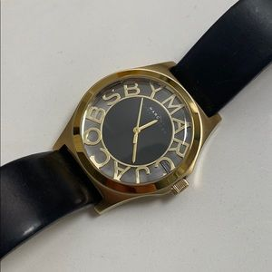 Marc Jacobs Skeleton Leather Watch in Black/Gold
